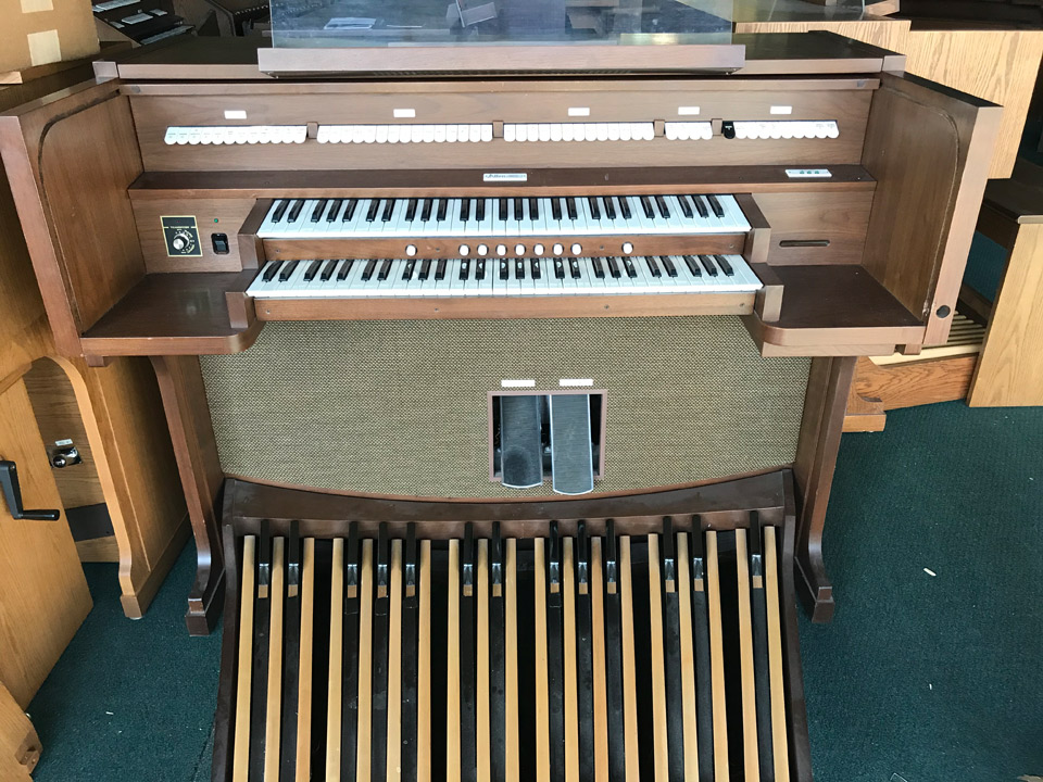 Allen Organ ADC 1140-walnut-$4,920- This digital organ includes moving capture with 7 generals on 2 memories and crescendo pedal, 30 stops plus alterable voices. Includes 1 year warranty.